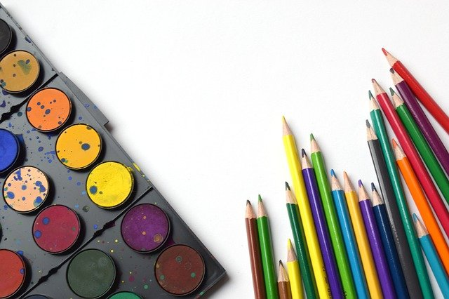 A group of different colored pencil